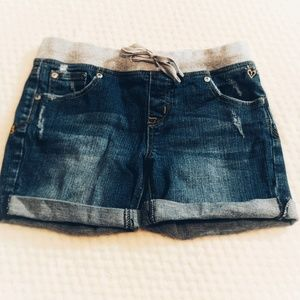JUSTICE jean shorts with sweatpant waistband 14R